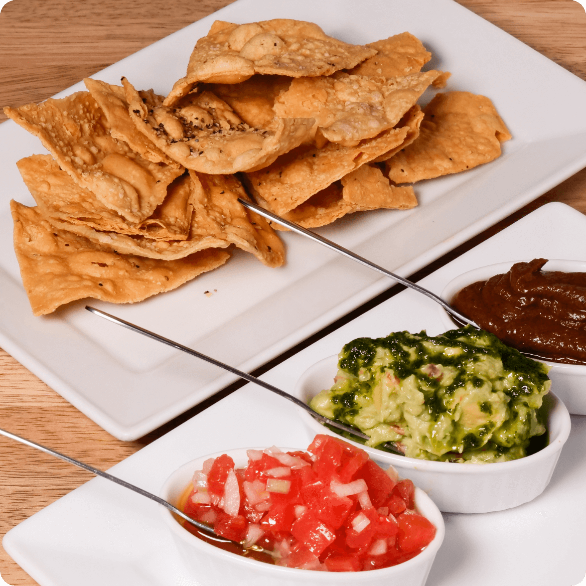house corn tortilla with 3 types of salsa